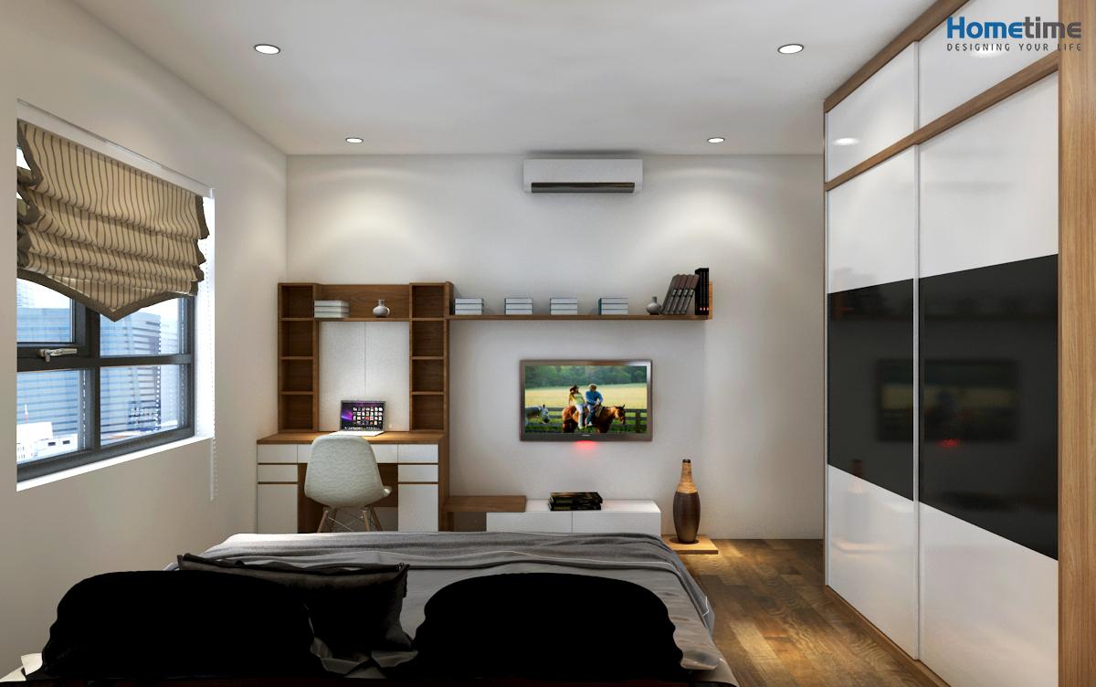 Thiết kế phòng ngủ master chung cư Hoàng Huy đẹp chú Tiến