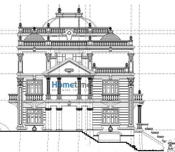 Kiến trúc mặt bên biệt thự kiểu pháp cổ điển
