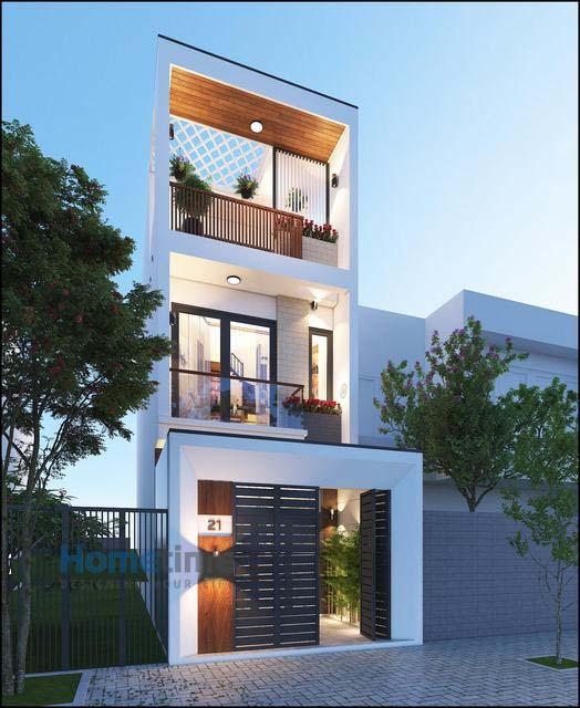 Thiết kế mặt tiền kiến trúc nhà 3 tầng 60m2