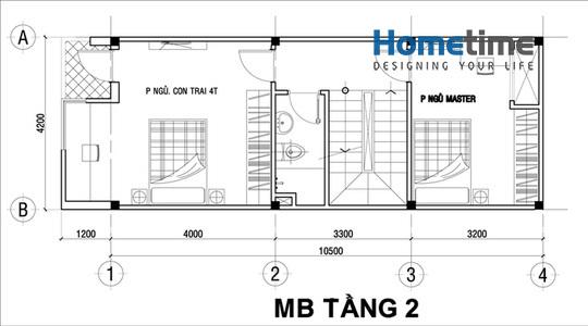 Thiết kế mặt bằng tầng 2 nhà 3 tầng