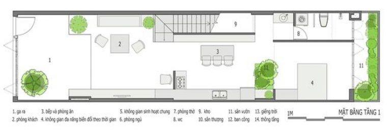 Bản vẽ kỹ thuật mặt bằng tầng 1 nhà ống 3 tầng
