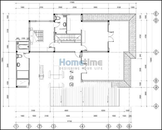 Bản vẽ thiết kế 2D mặt bằng tầng 2