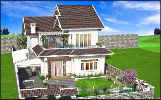 Phối cảnh 3D thiết kế biệt thự nhà vườn 2 tầng