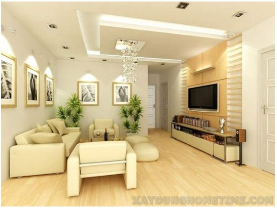 Phối cảnh thiết kế nội thất phòng khách nhà ống 2 tầng