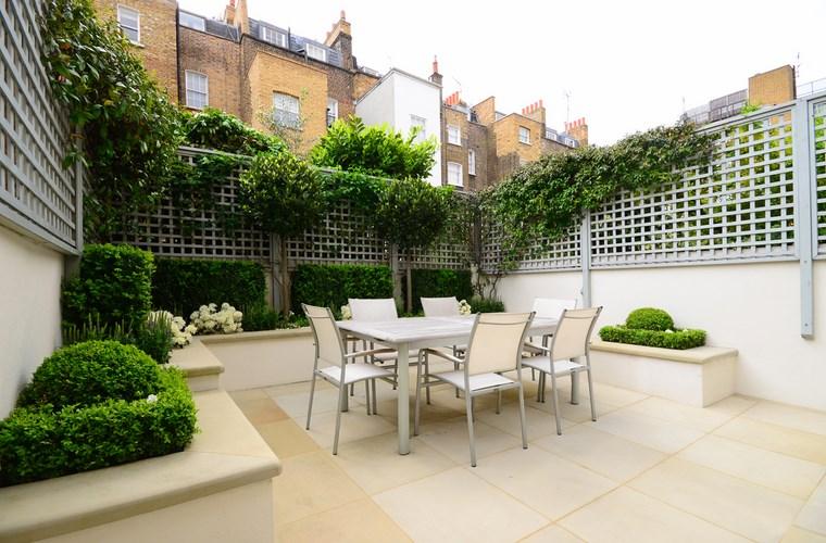 Cây xanh trồng thành hàng hoặc bám vào tường trên sân thượng
