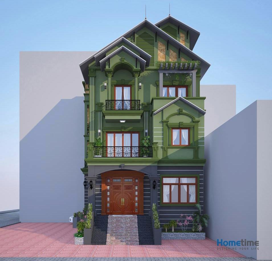 Phối cảnh 3D nhà mái thái 3 tầng cô Vui đường Võ Nguyên Giáp Hải Phòng.