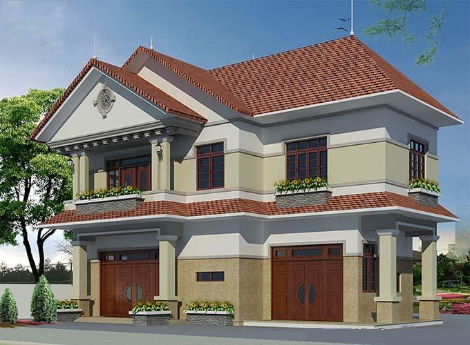 Phối cánh góc khác 3D biệt thự mái thái 2 tầng nhà anh Dũng