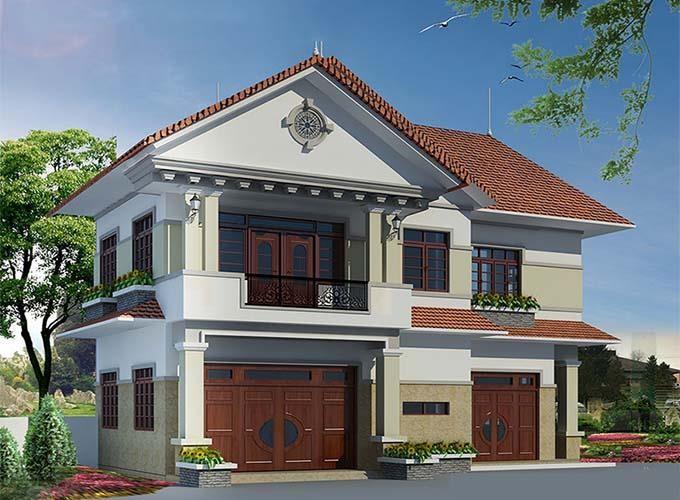 Phối cảnh 3D biệt thự mái thái 2 tầng nhà anh Dũng