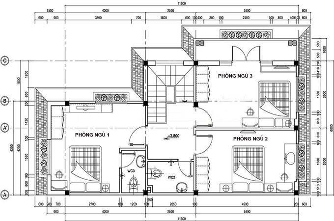 Bản vẽ 2D mặt bằng tầng 2