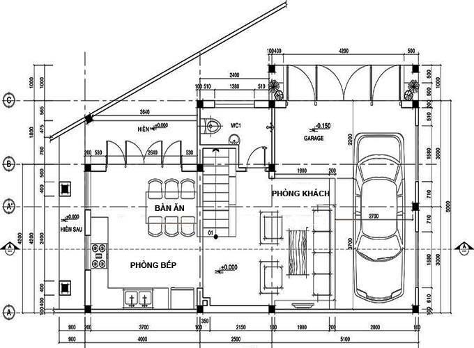 Bản vẽ 2D mặt bằng tầng 1