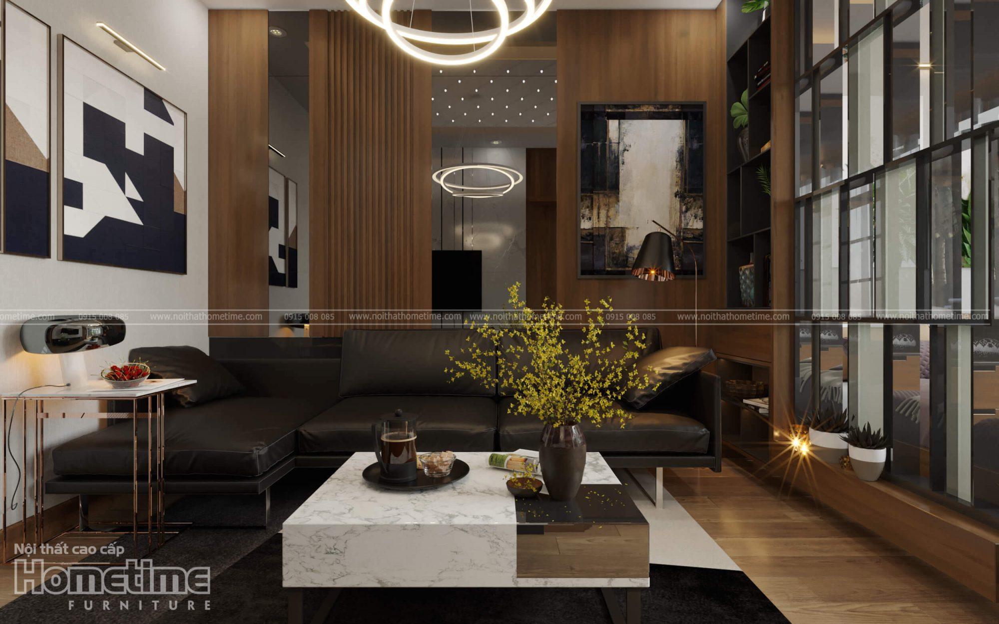 Thiết kế nội thất phòng khách chung cư Water Front City Hải Phòng