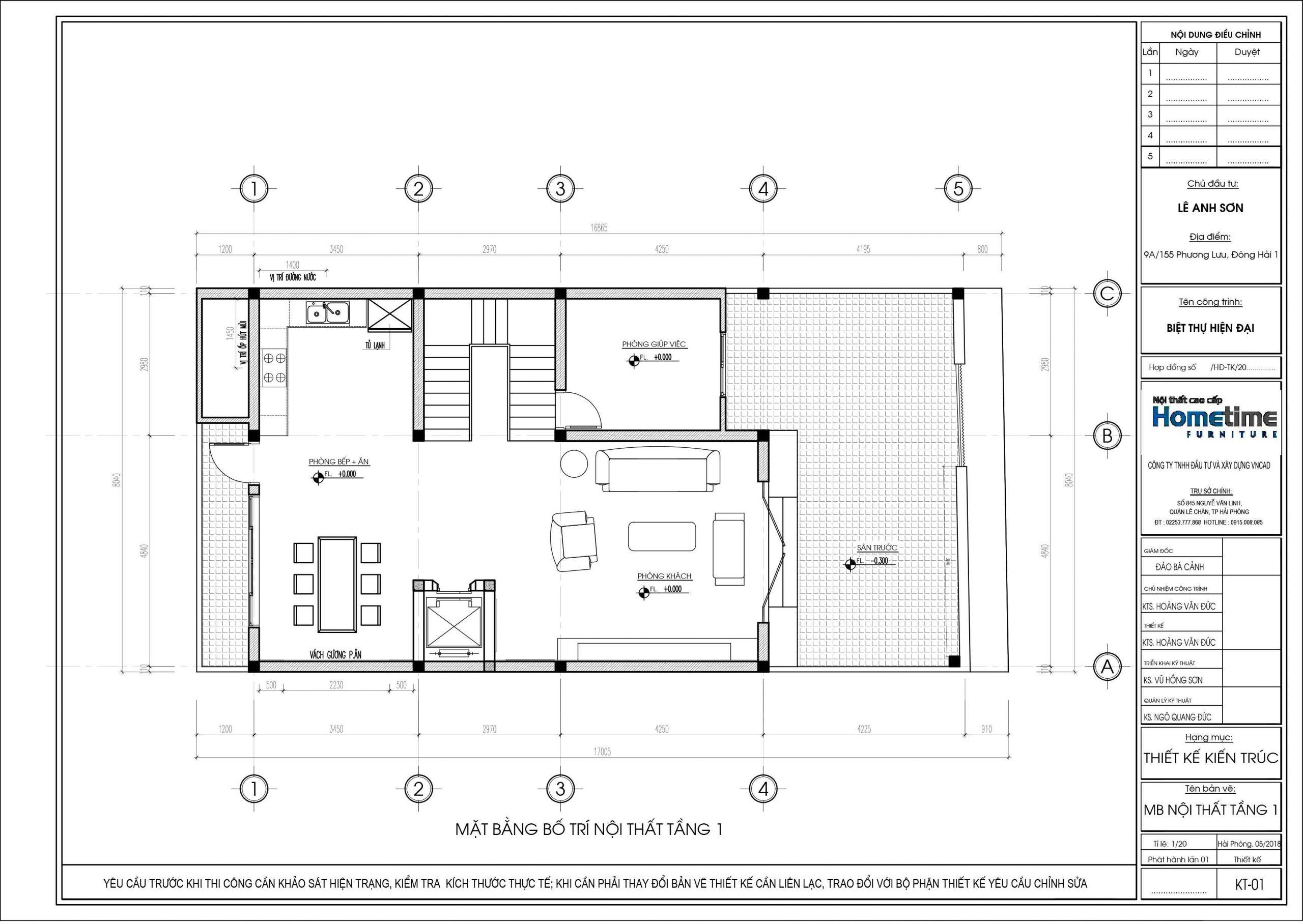 Bản thiết kế chi tiết mặt bằng bố trí nội thất tầng một
