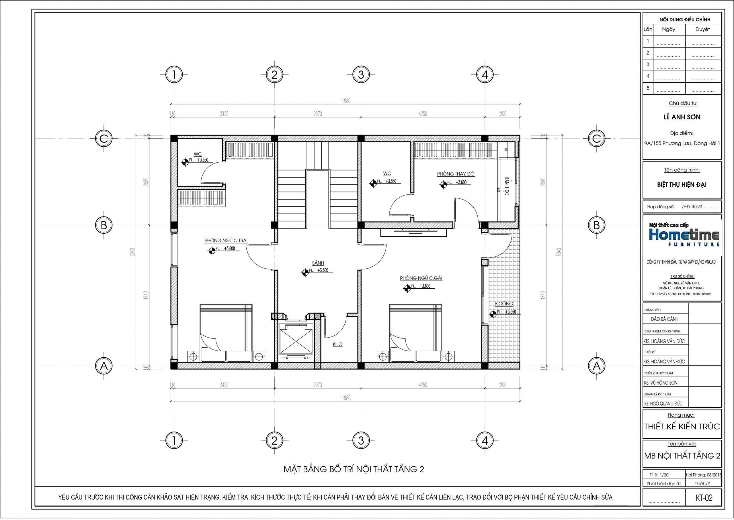 Bản thiết kế mặt bằng bố trí nội thất tầng hai