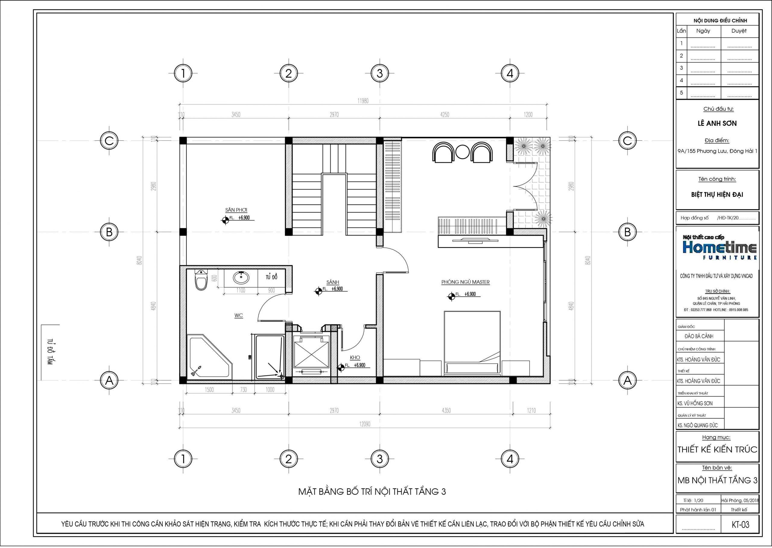 Bản thiết kế mặt bằng bố trí nội thất tầng ba