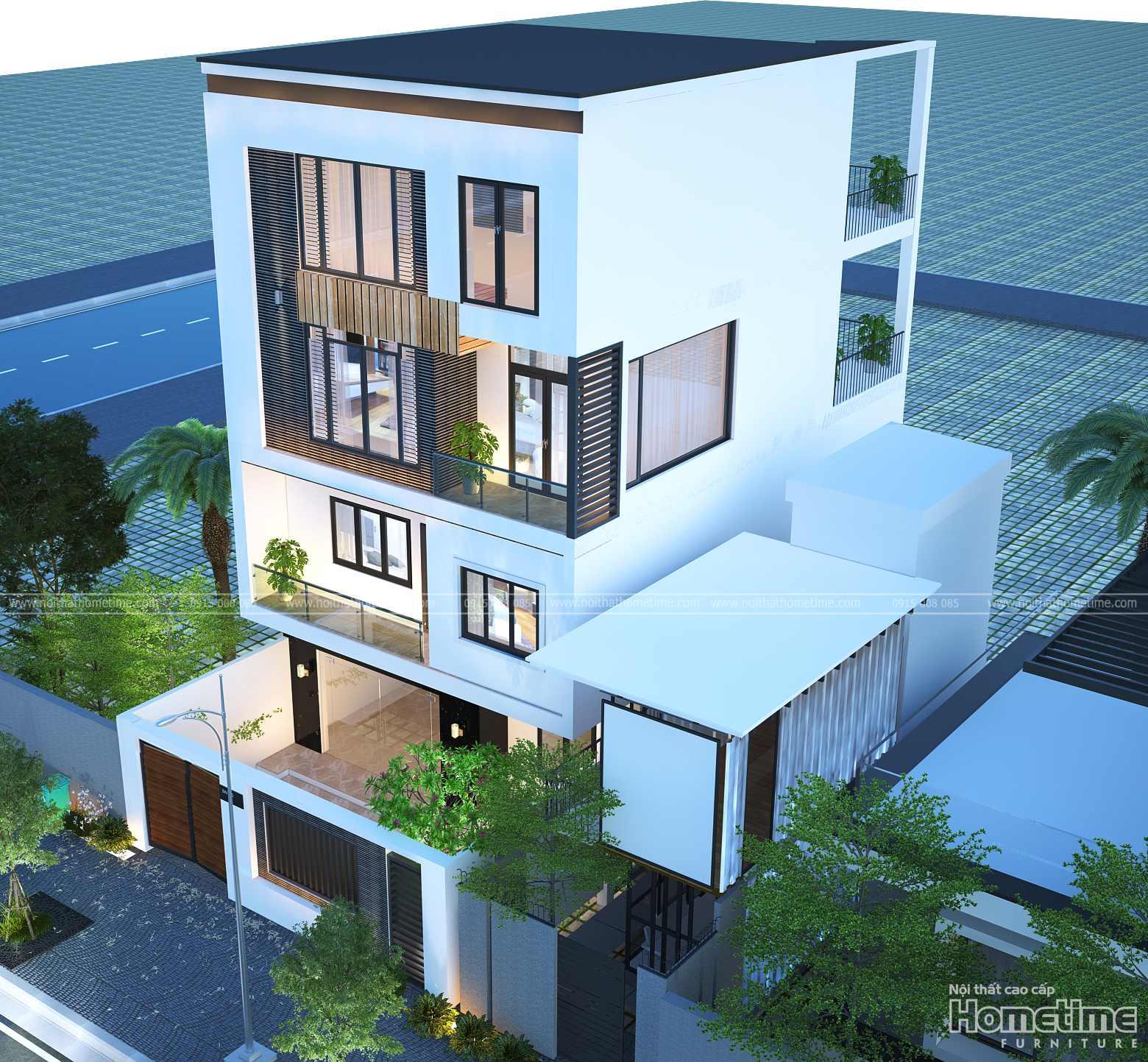 Phối cảnh thiết kế kiến trúc nhà phố nhà anh Sơn