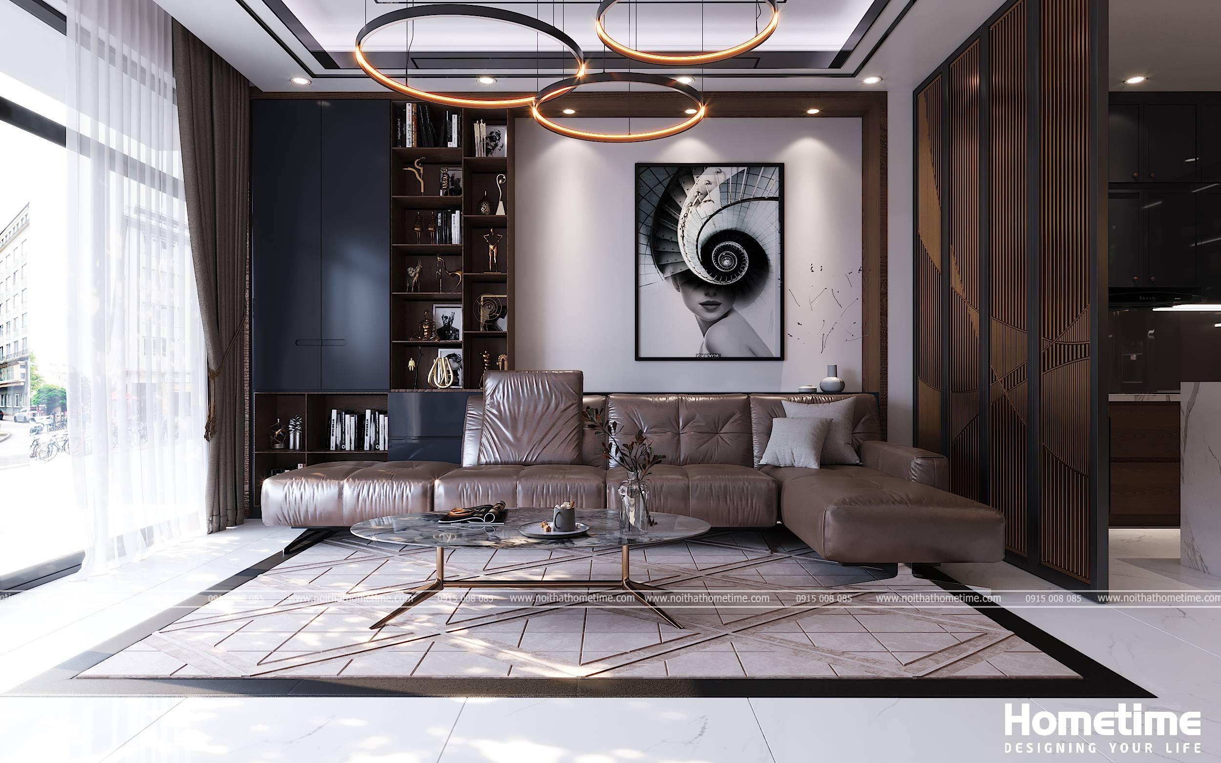 Bộ bàn ghế và chiếc tủ kệ gỗ trang trí