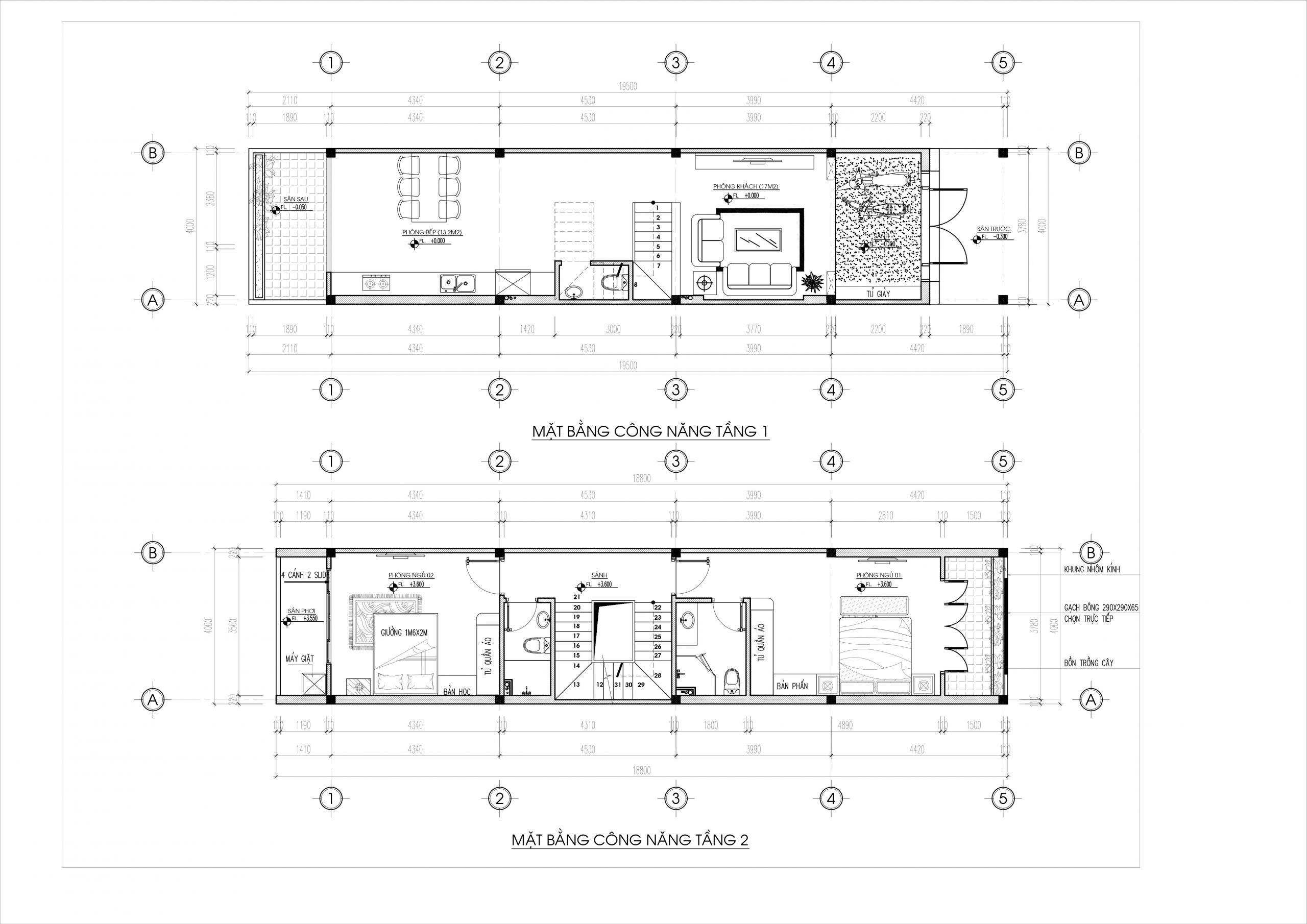 Bản thiết kế chi tiết mặt bằng công năng tầng một và tầng 2
