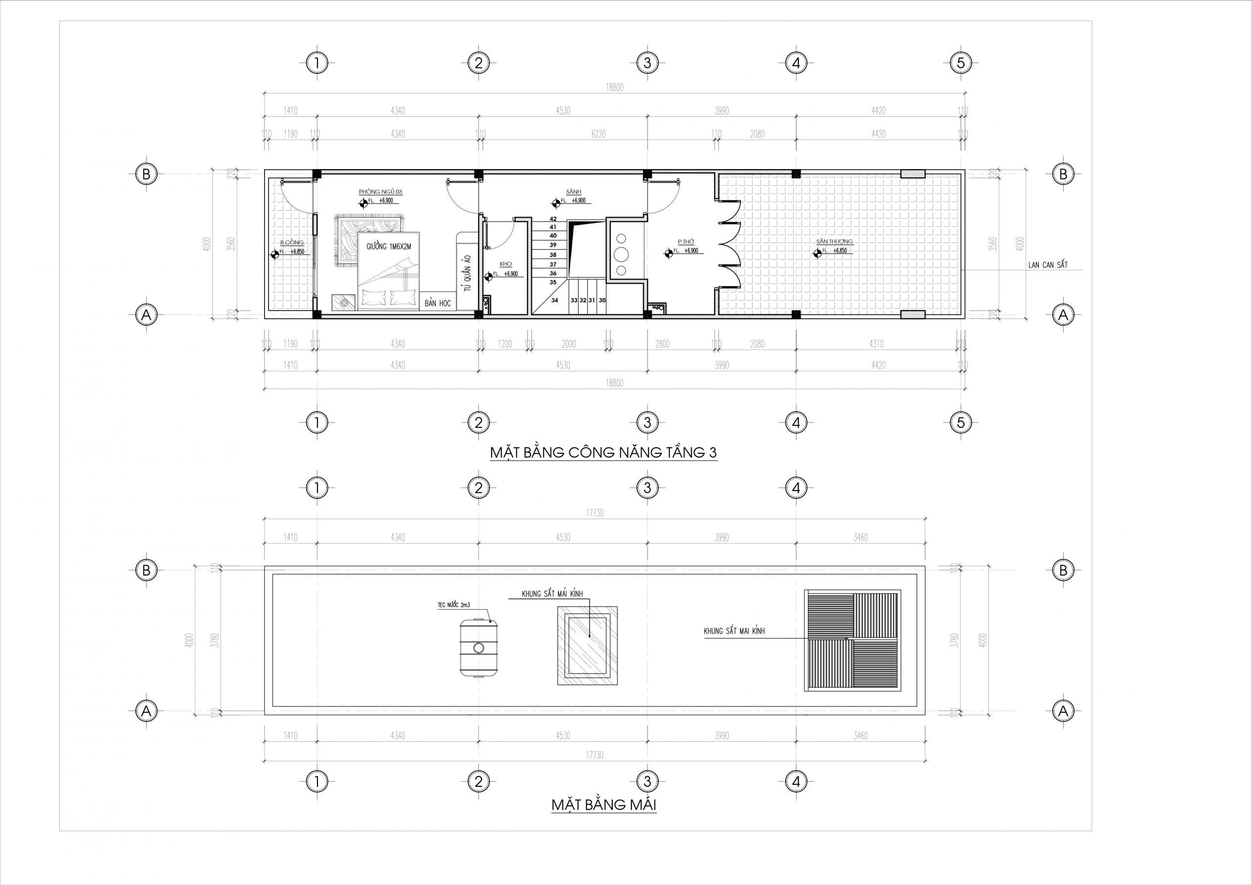 Mặt bằng công năng tầng 3 và tầng mái