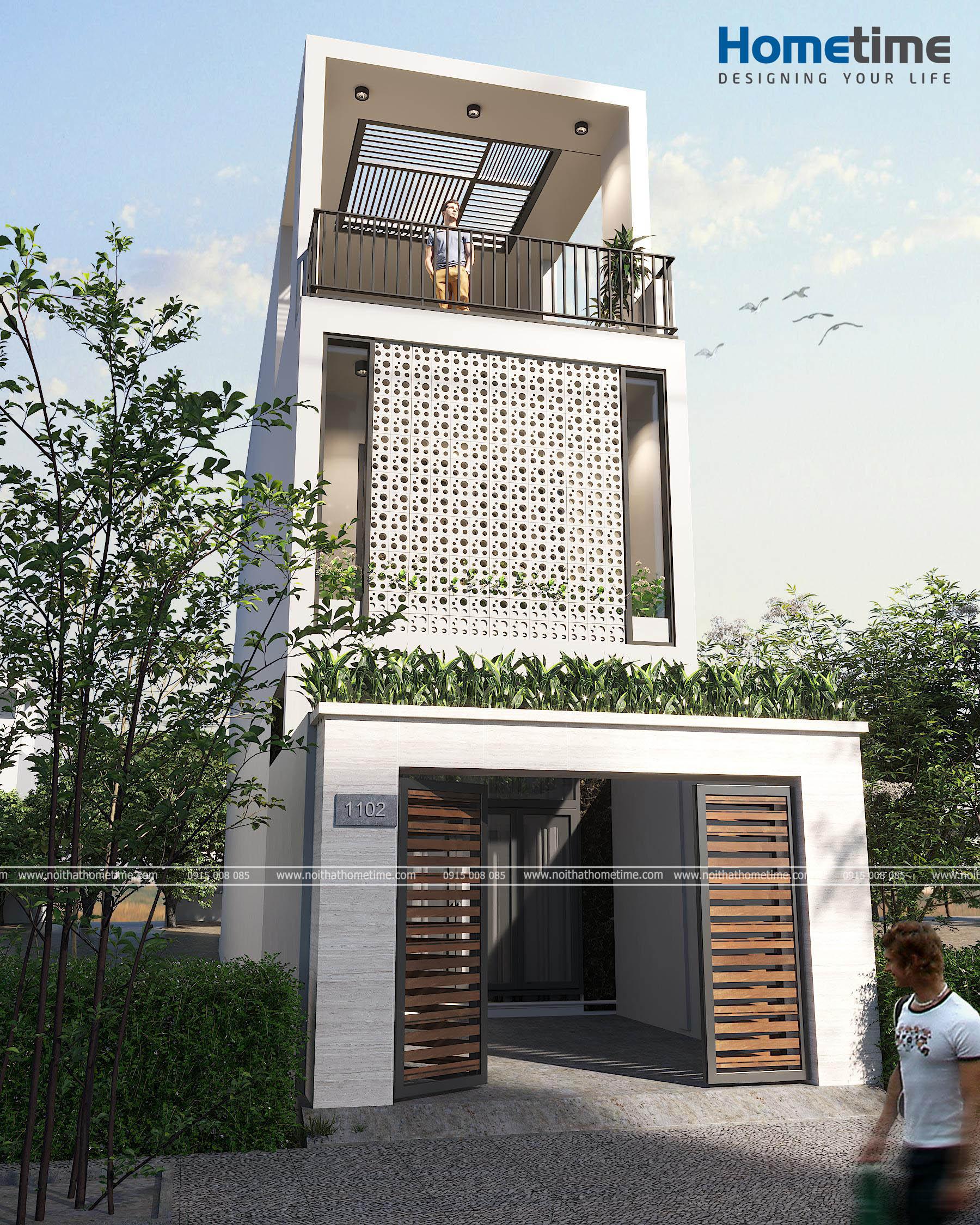 Hình ảnh 3D ngôi nhà 3 tầng hiện đại nhà anh Nam Cát Bi Hải Phòng