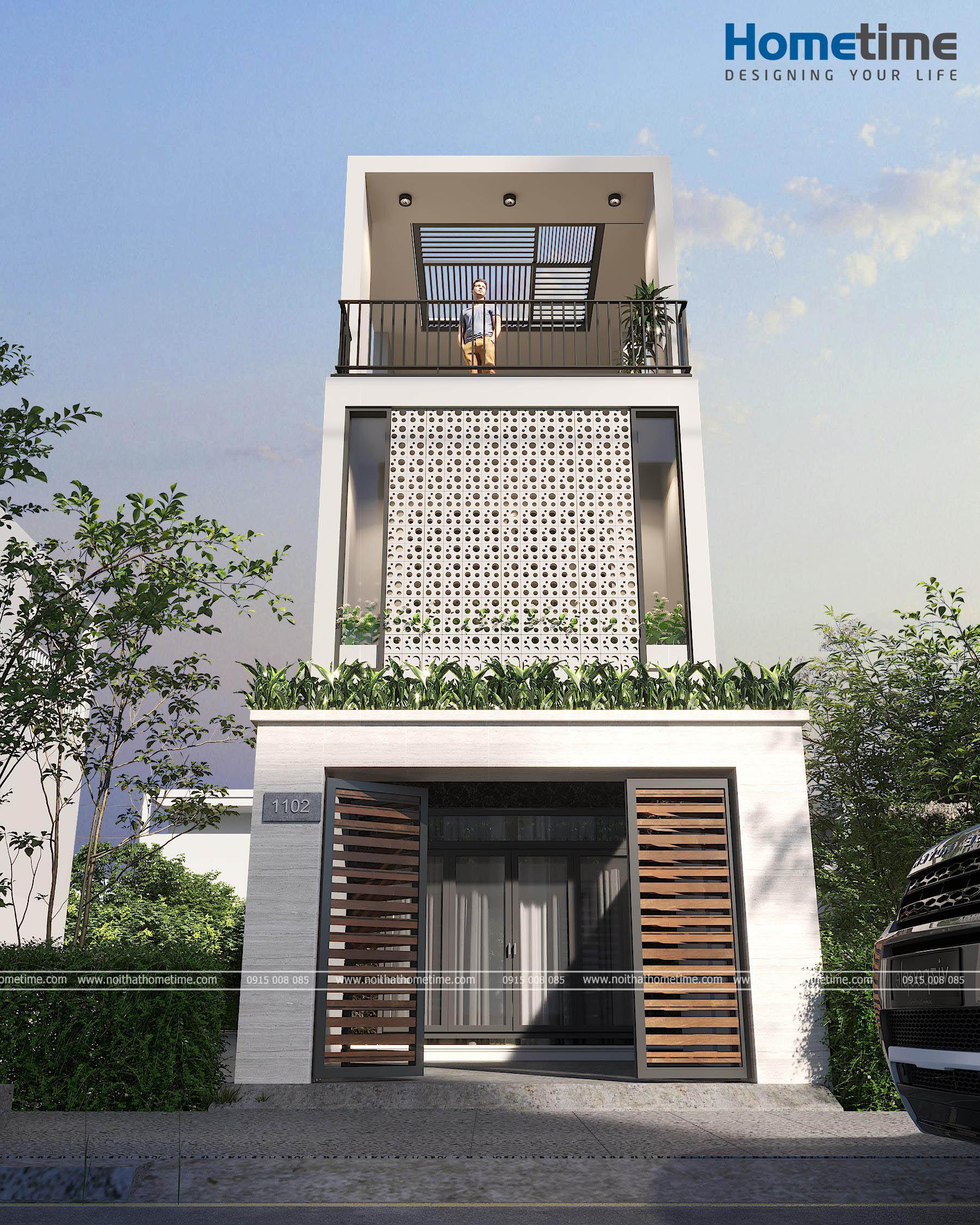 Hình ảnh 3d góc nhìn trực diện nhà 3 tầng nhà anh Nam