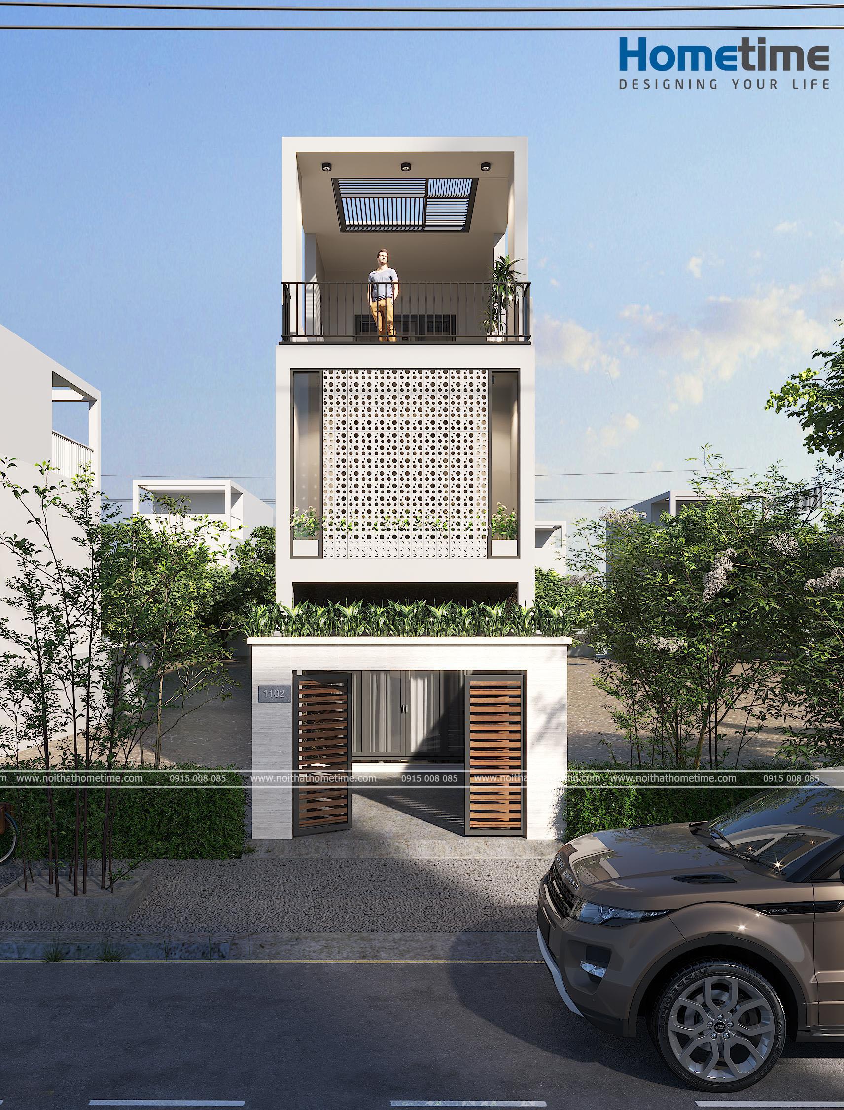 Hình ảnh 3d góc nhìn trực diện căn nhà anh Nam từ xa