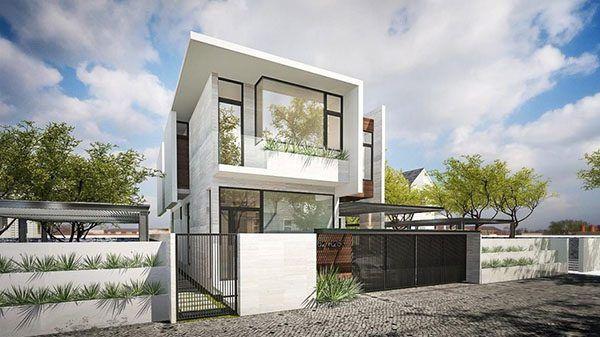 Mẫu xây nhà biệt thự nhà vườn với mái bằng