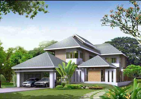 Thiết kế nhà vườn 2 tầng kiểu mái thái