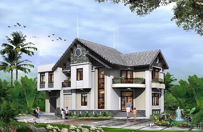 Mẫu nhà biệt thự mái thái 2,5 tỷ đồng