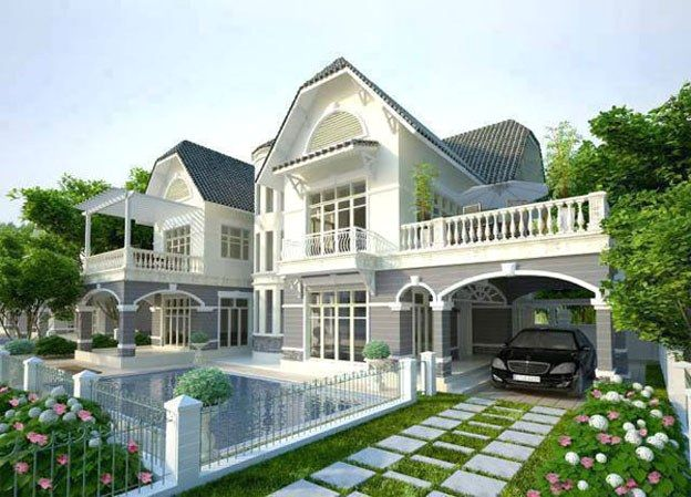 Mẫu nhà vườn 2 tầng kết hợp hồ bơi