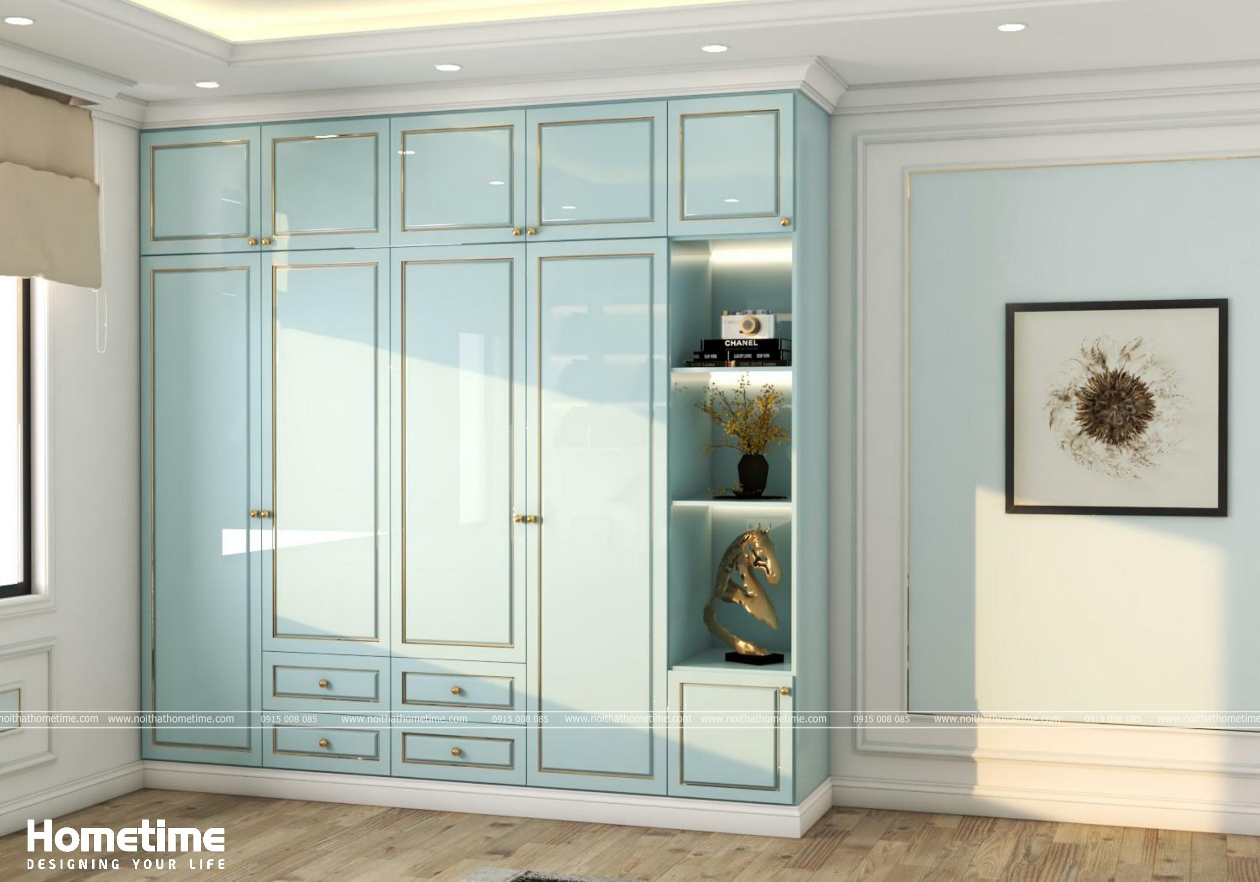 Hình ảnh tủ quần áo phòng ngủ với tông màu xanh lơ
